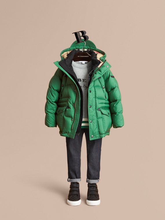 Down-filled Hooded Puffer Jacket in Pigment Green - Boy | Burberry