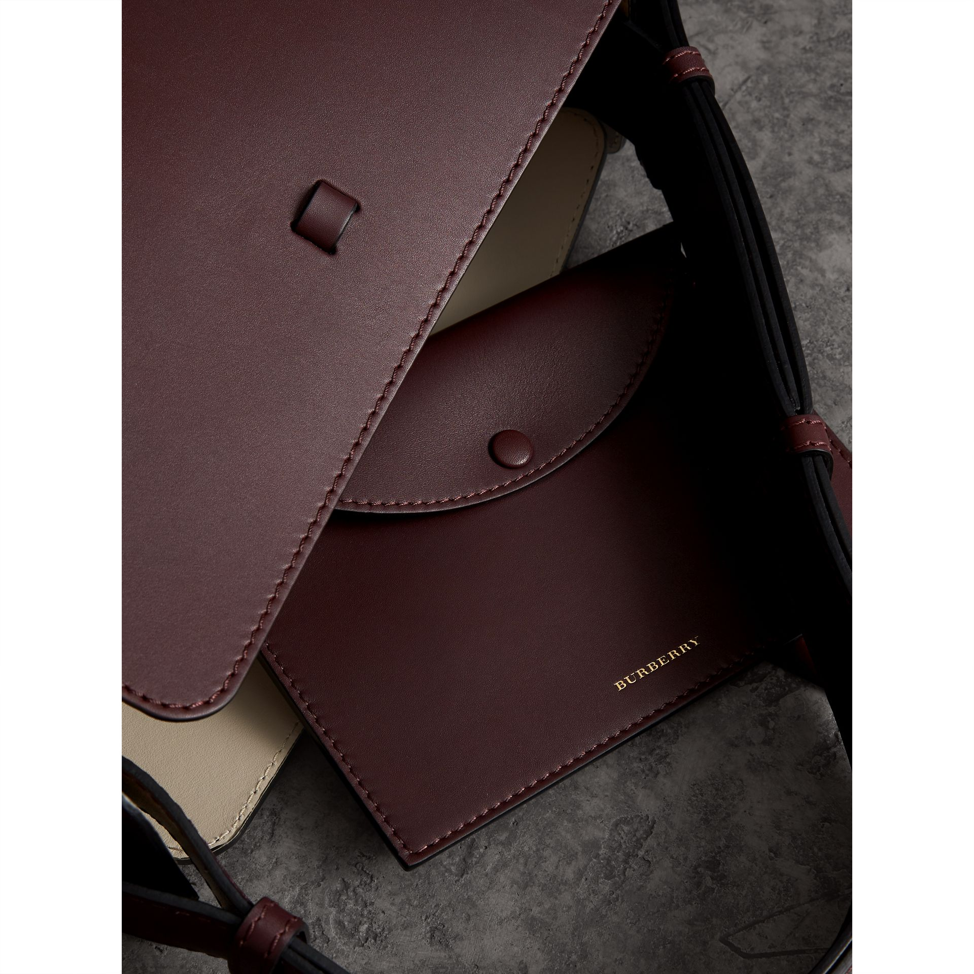 The Medium Leather Bucket Bag in Deep Claret - Women | Burberry Singapore - gallery image 5
