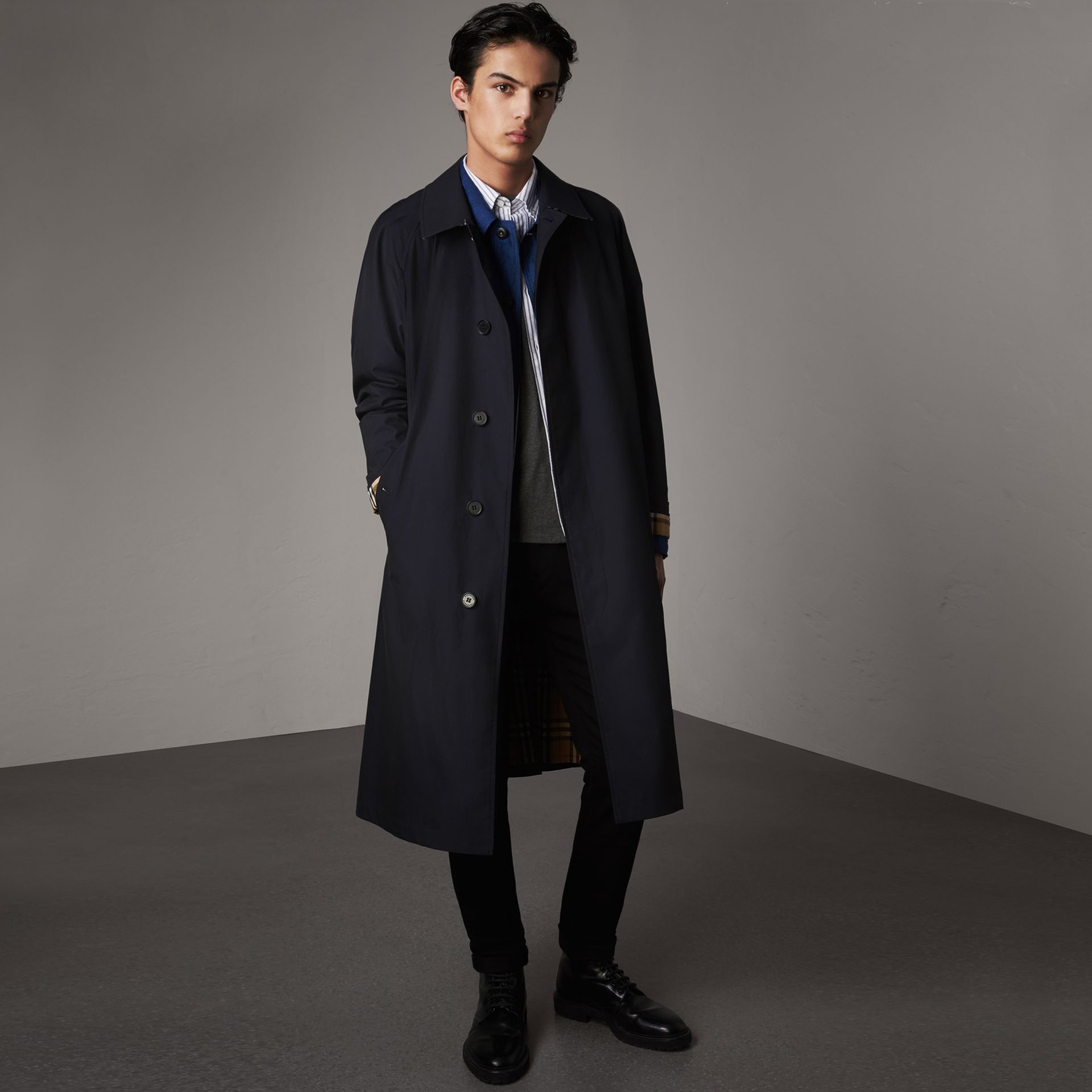 The Brighton Car Coat in Blue Carbon - Men | Burberry Singapore - gallery image 0