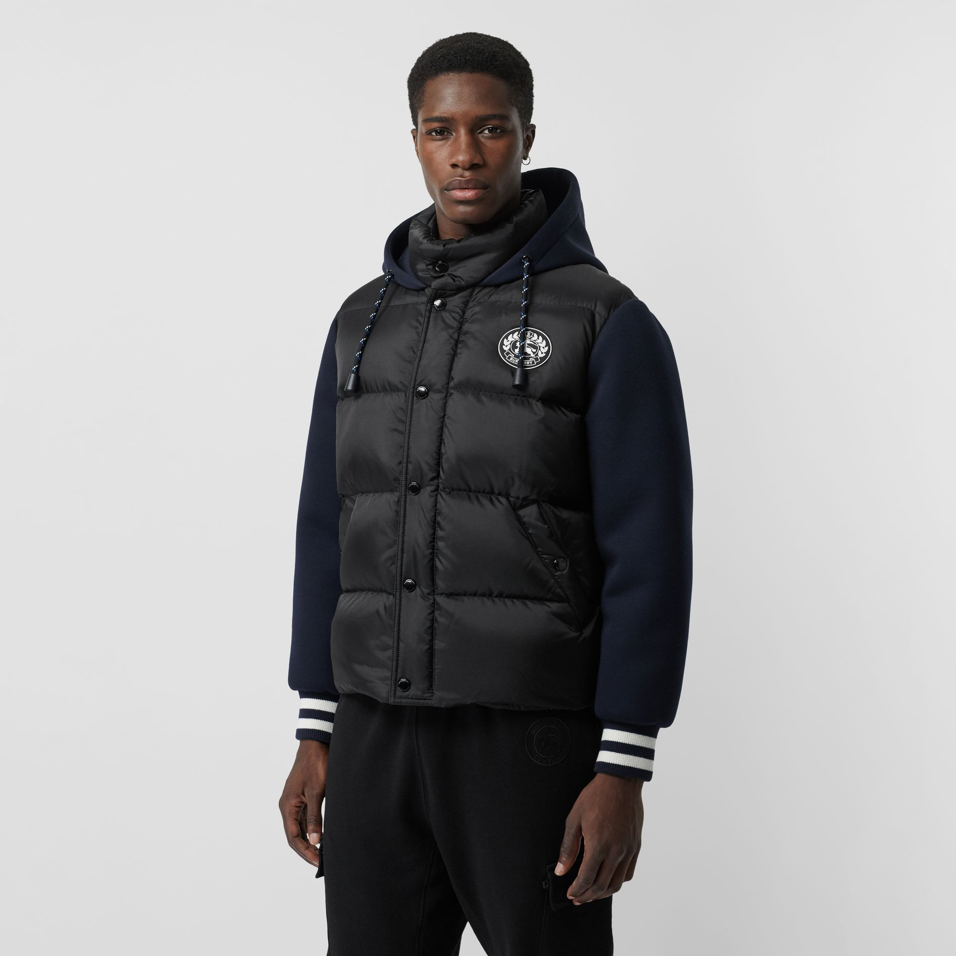 Neoprene Down-filled Hooded Jacket in Black - Men | Burberry Canada - gallery image 6