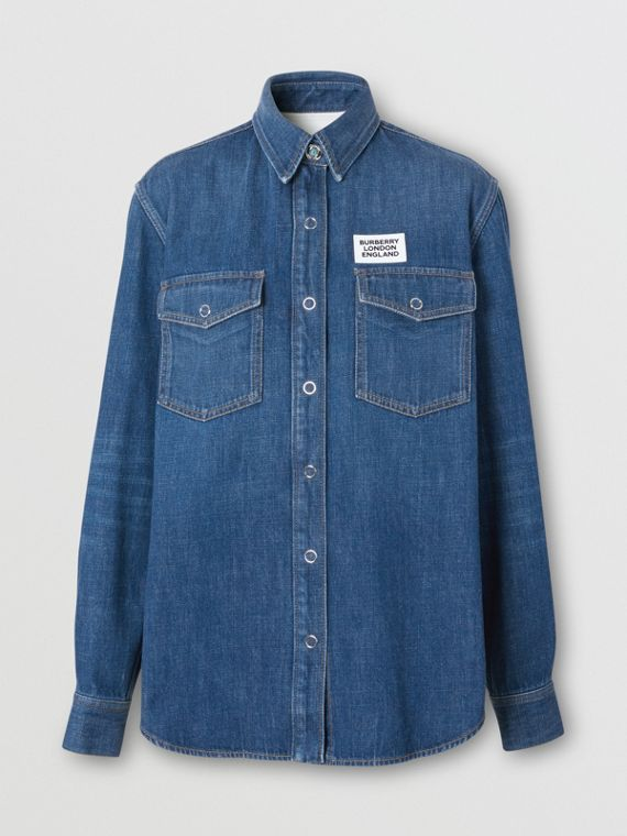 Logo Appliqué Denim Shirt in Indigo