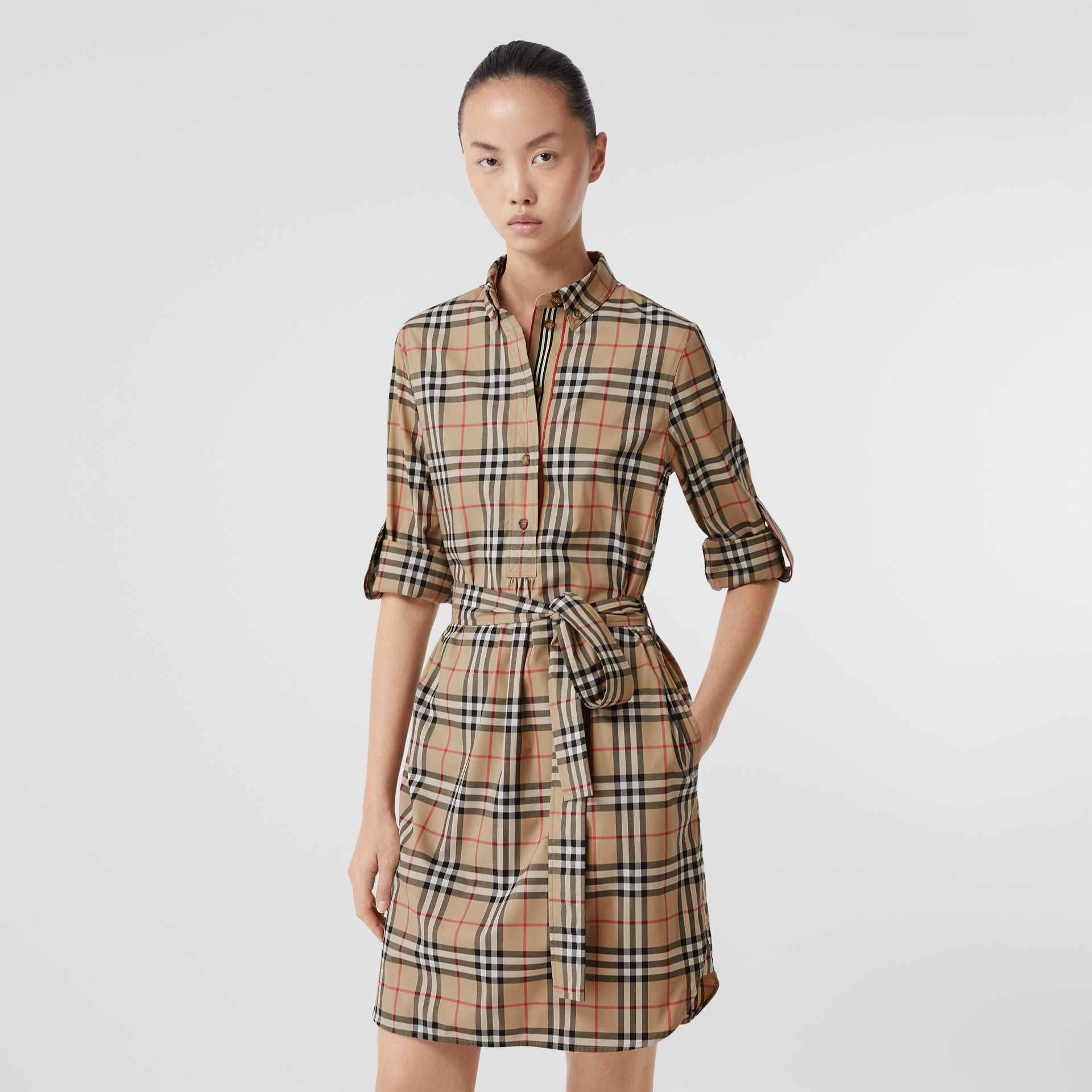 Vintage Check Stretch Cotton Tie-waist Shirt Dress in Archive Beige - Women | Burberry - gallery image 5