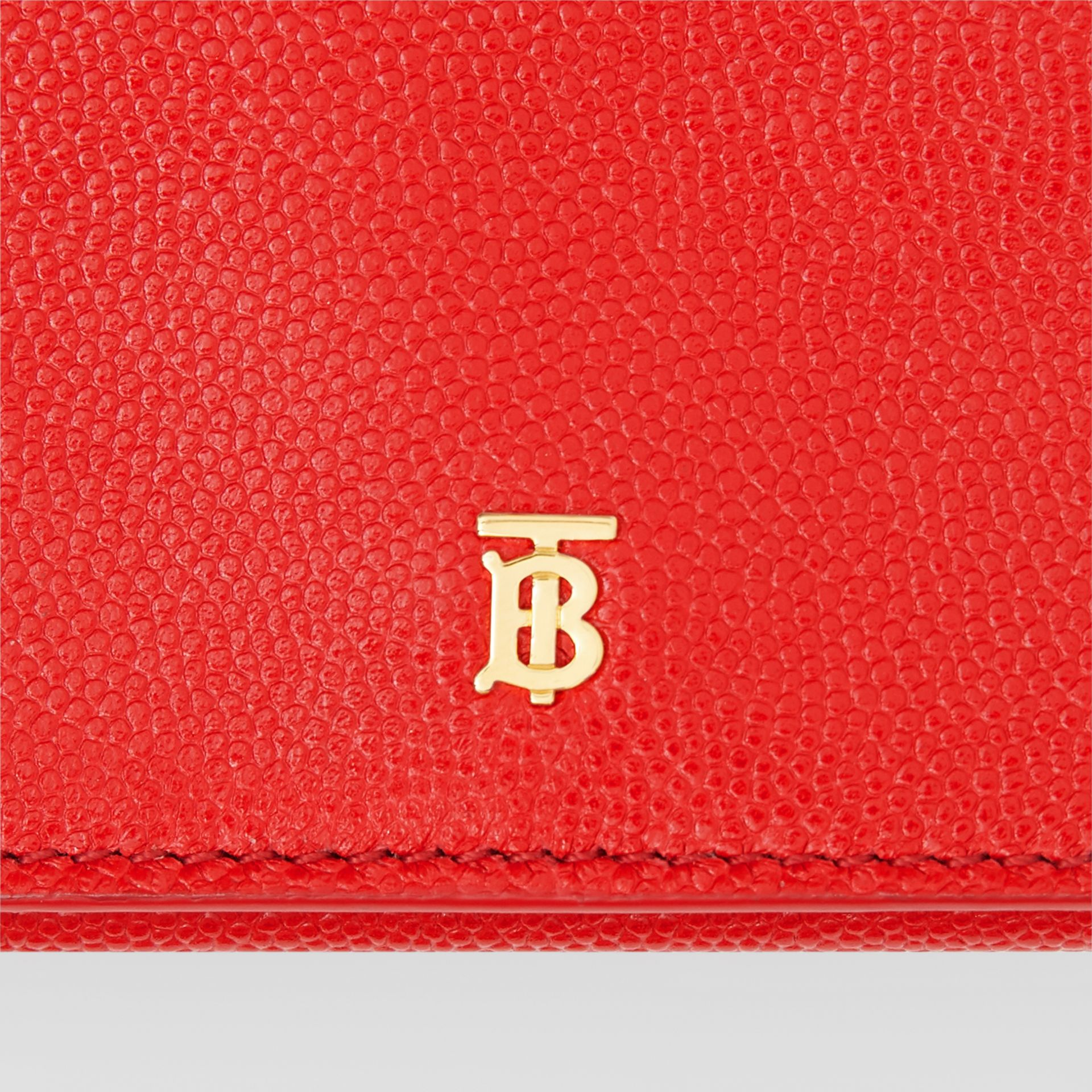 Small Grainy Leather Folding Wallet in Bright Red - Women | Burberry Canada - gallery image 1