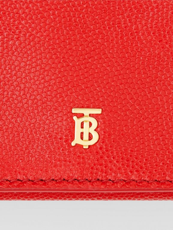Small Grainy Leather Folding Wallet in Bright Red - Women | Burberry Canada - cell image 1