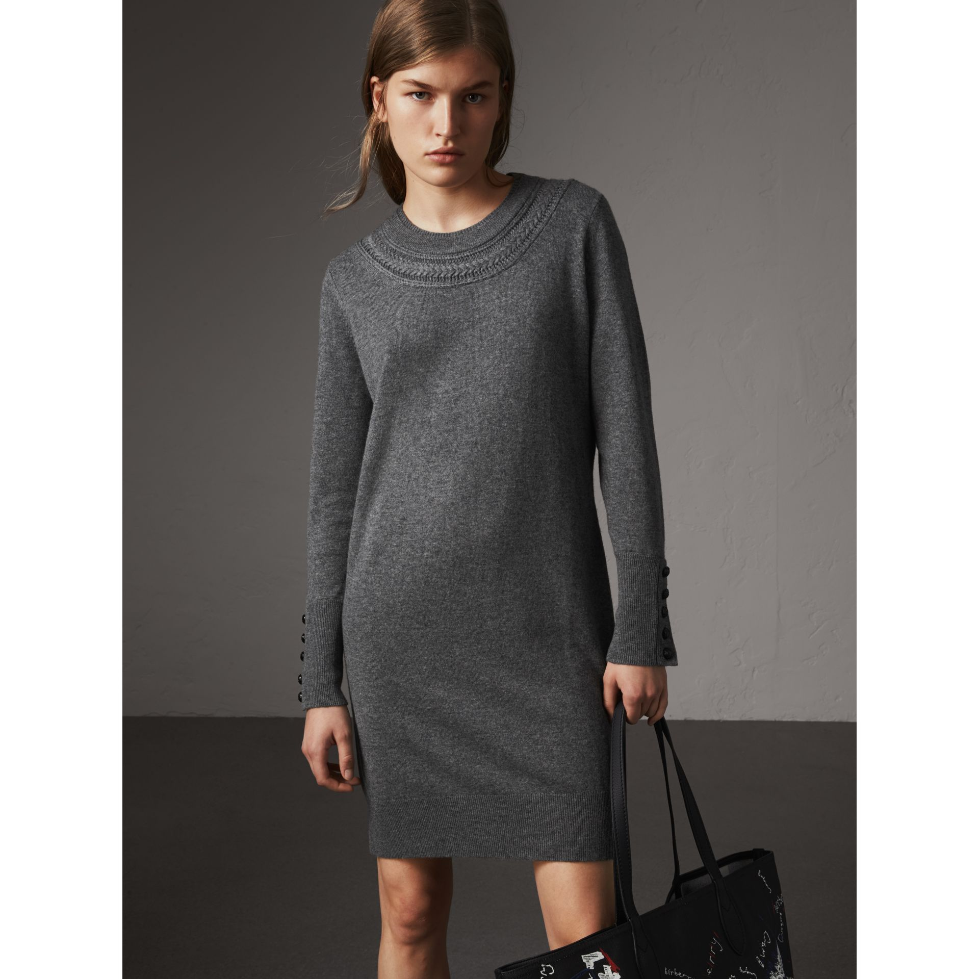 Knitted Wool Cashmere Sweater Dress in Mid Grey Melange - Women | Burberry - gallery image 1