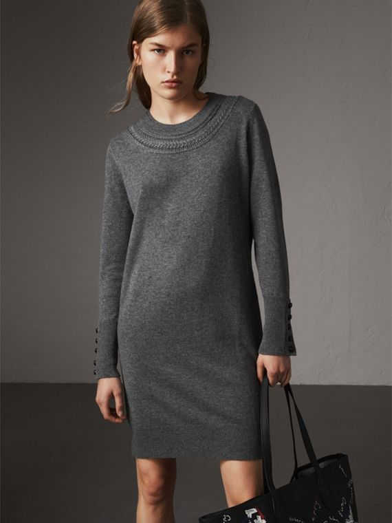 Knitted Wool Cashmere Sweater Dress in Mid Grey Melange