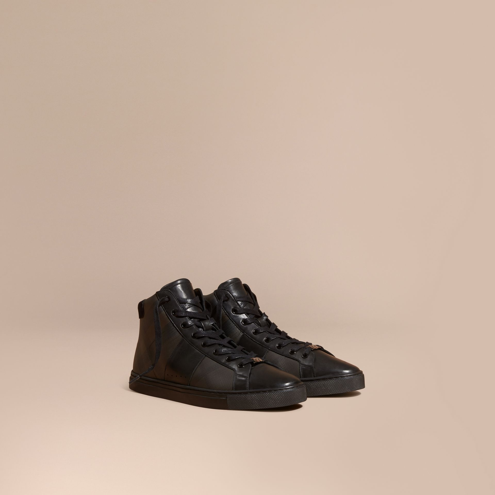 London Check and Leather High-Top Trainers in Smoked Chocolate - Men | Burberry Canada - gallery image 1