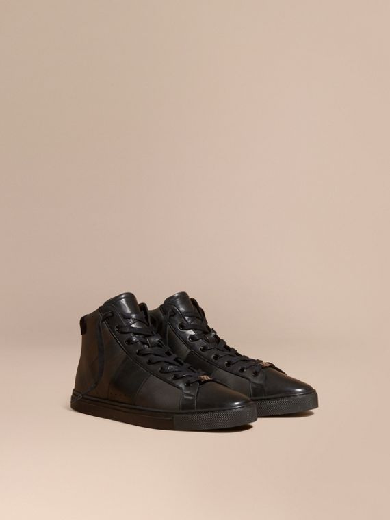 London Check and Leather High-Top Trainers in Smoked Chocolate
