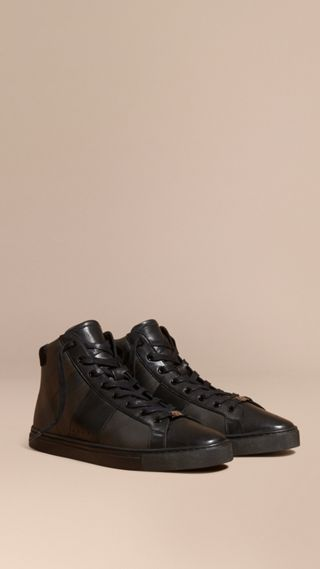 London Check and Leather High-Top Trainers