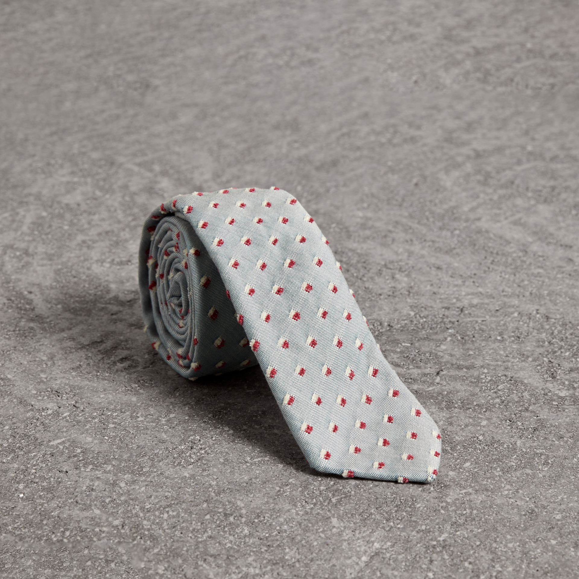 Slim Cut Chenille Dot Cotton Silk Tie in Sky Blue - Men | Burberry - gallery image 0