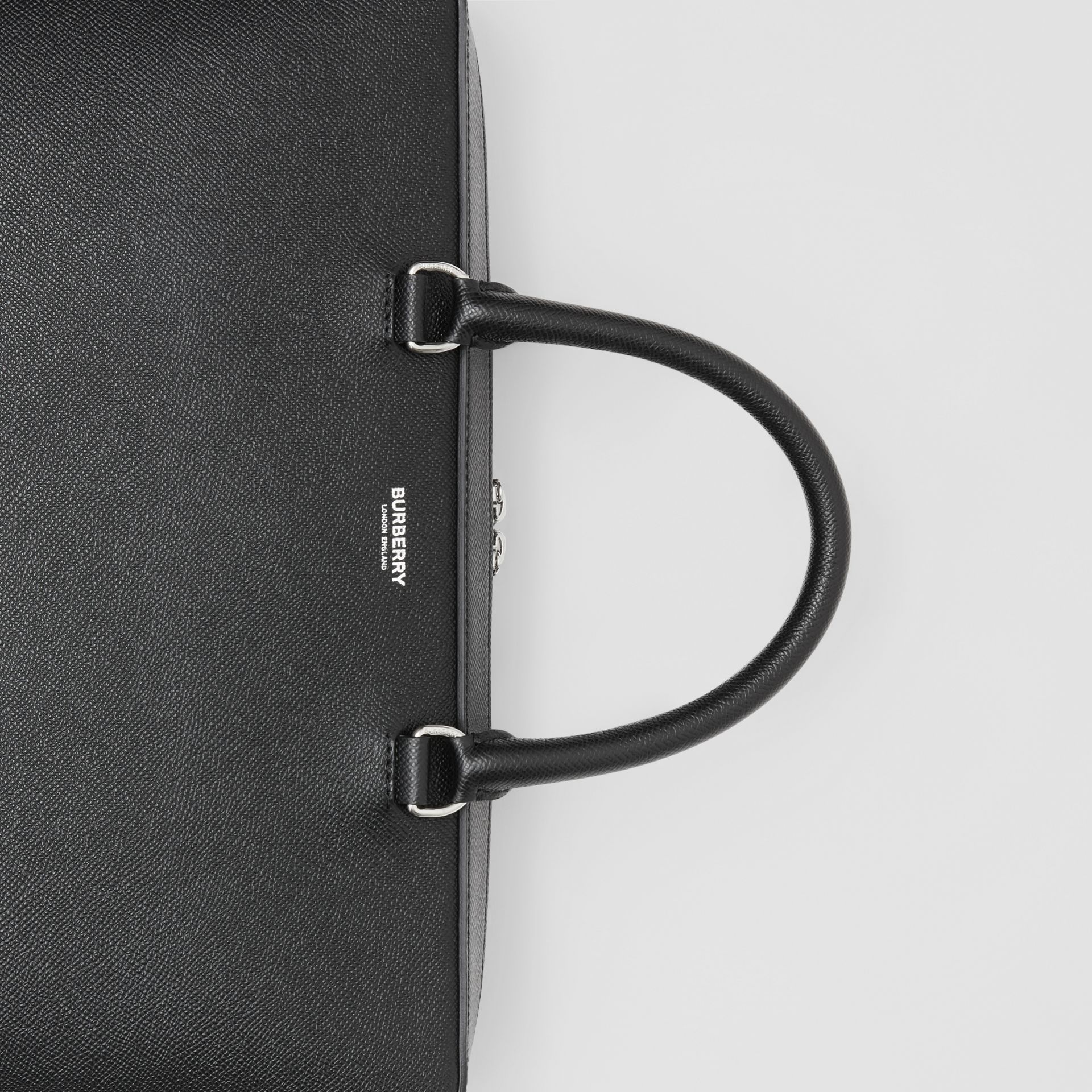 Grainy Leather Briefcase in Black - Men | Burberry - gallery image 1