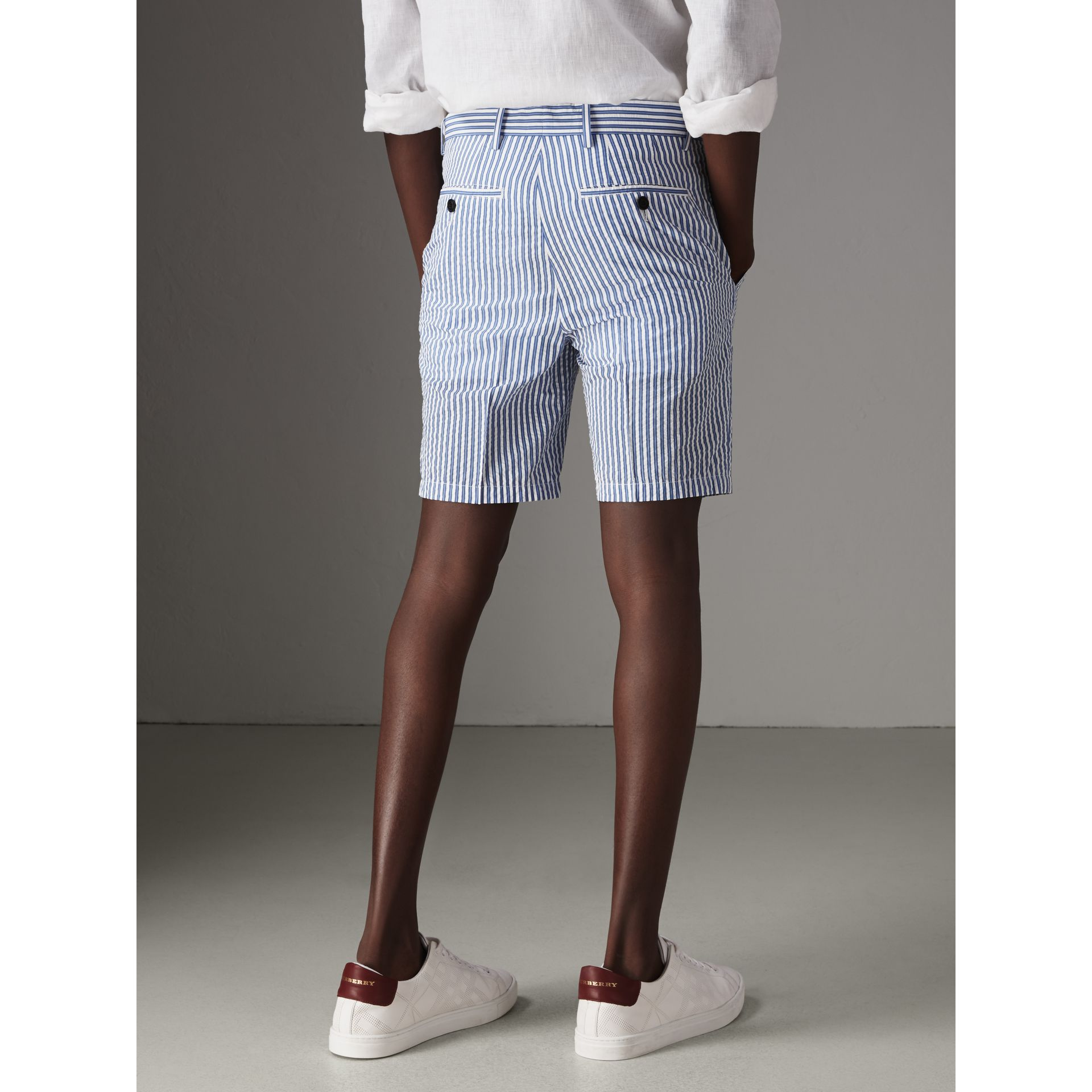 Striped Cotton Blend Tailored Shorts in Navy - Men | Burberry Singapore - gallery image 2