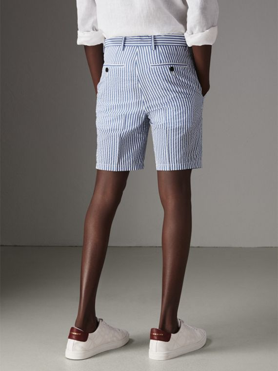 Striped Cotton Blend Tailored Shorts in Navy - Men | Burberry Australia - cell image 2
