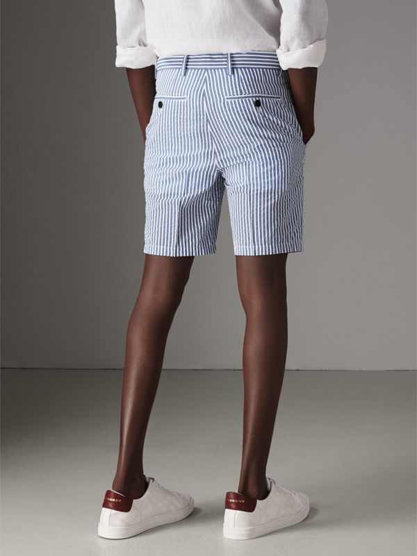Striped Cotton Blend Tailored Shorts in Navy - Men | Burberry Singapore - cell image 2