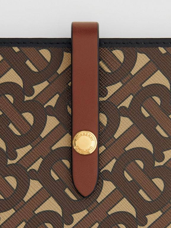 Monogram Print E-canvas Phone Case with Strap in Bridle Brown | Burberry - cell image 1