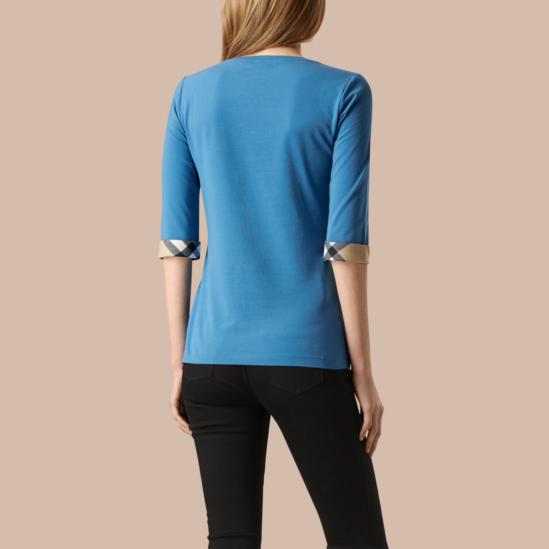 Lupin blue Check Cuff Stretch-Cotton Top Lupin Blue - gallery image 2