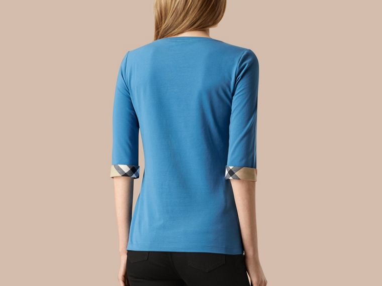 Lupin blue Check Cuff Stretch-Cotton Top Lupin Blue - cell image 1