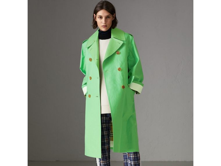 Bonded Cotton Double-breasted Coat in Bright Pigment Green - Women | Burberry - cell image 4