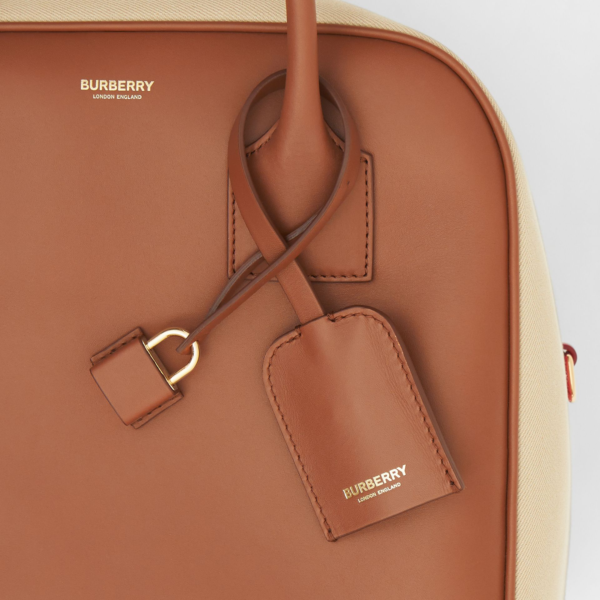 Medium Leather and Cotton Canvas Cube Bag in Malt Brown - Women | Burberry - gallery image 9