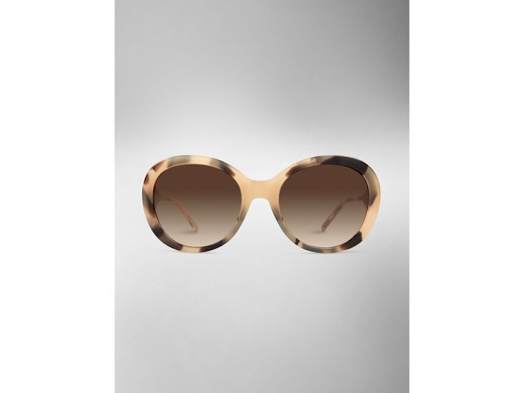 Gabardine Collection Oversize Round Frame Sunglasses in Mid Tone Horn - cell image 1