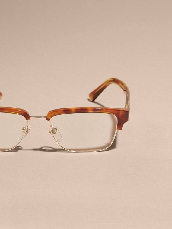 Half-rimmed Oval Optical Frames Light Russet Brown - cell image 2