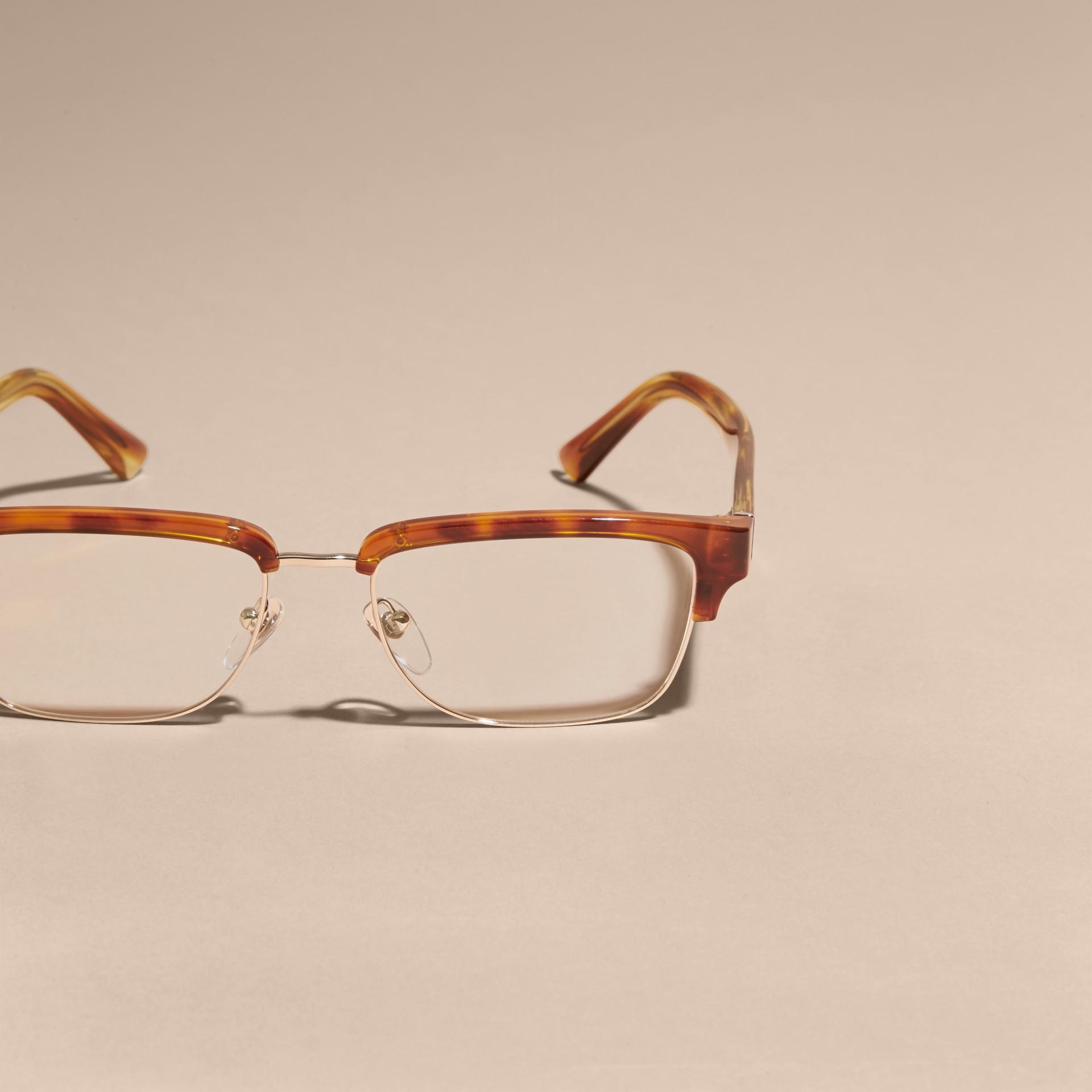 Burberry Half Frame Glasses : Half-rimmed Oval Optical Frames Light Russet Brown Burberry