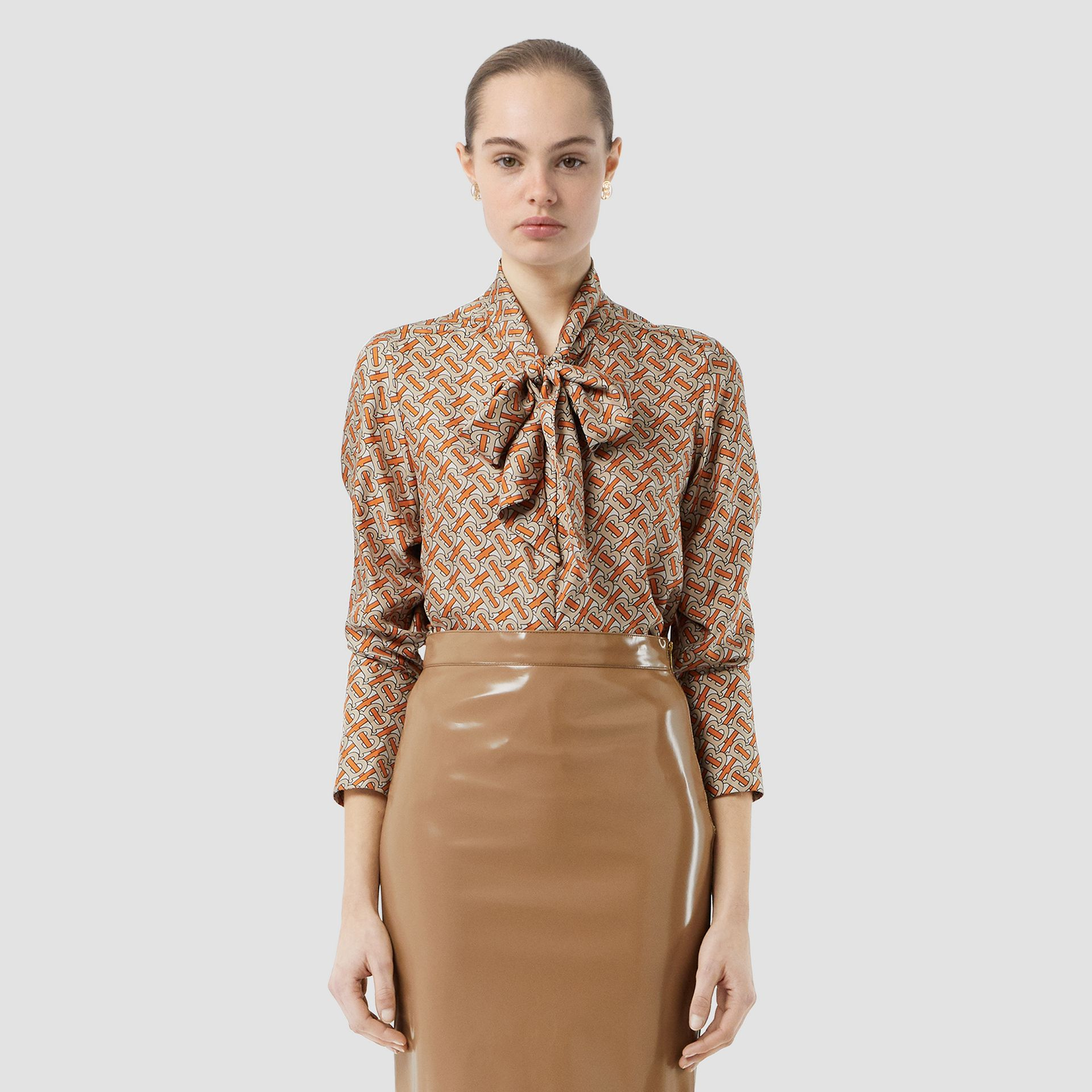Vinyl Pencil Skirt in Utility Beige - Women | Burberry - gallery image 6