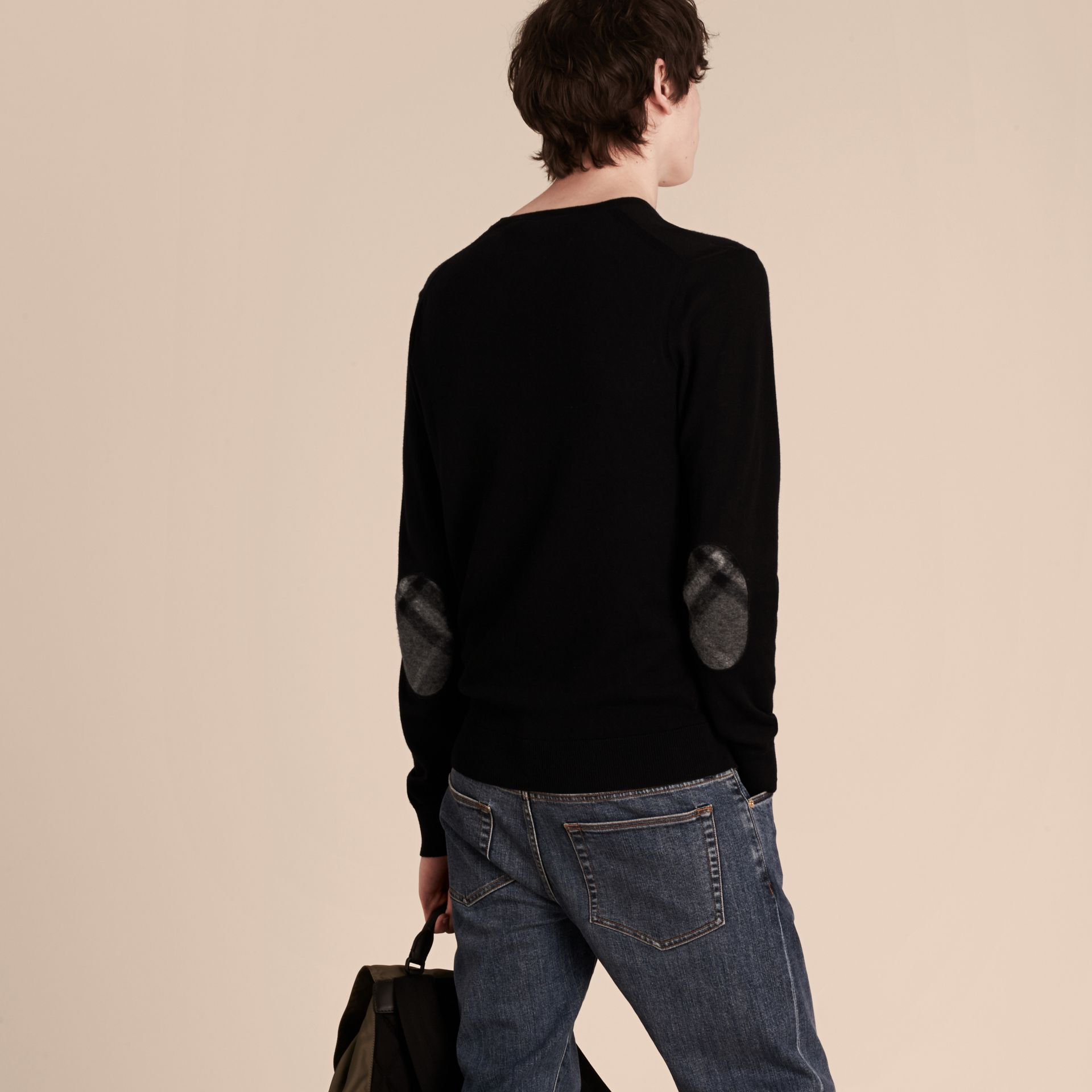 Check Trim Cashmere Cotton Sweater Black - gallery image 3
