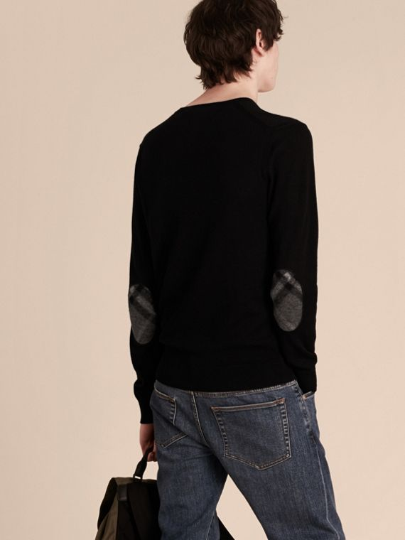 Check Trim Cashmere Cotton Sweater Black - cell image 2