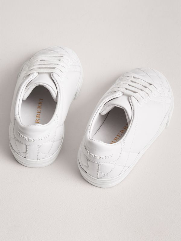 Check Detail Leather Sneakers in Optic White - Children | Burberry - cell image 2