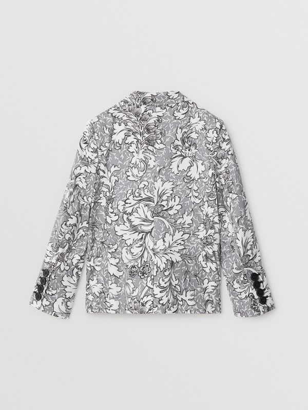 Floral Print Cotton Blazer in Mid Grey Melange | Burberry United States - cell image 3