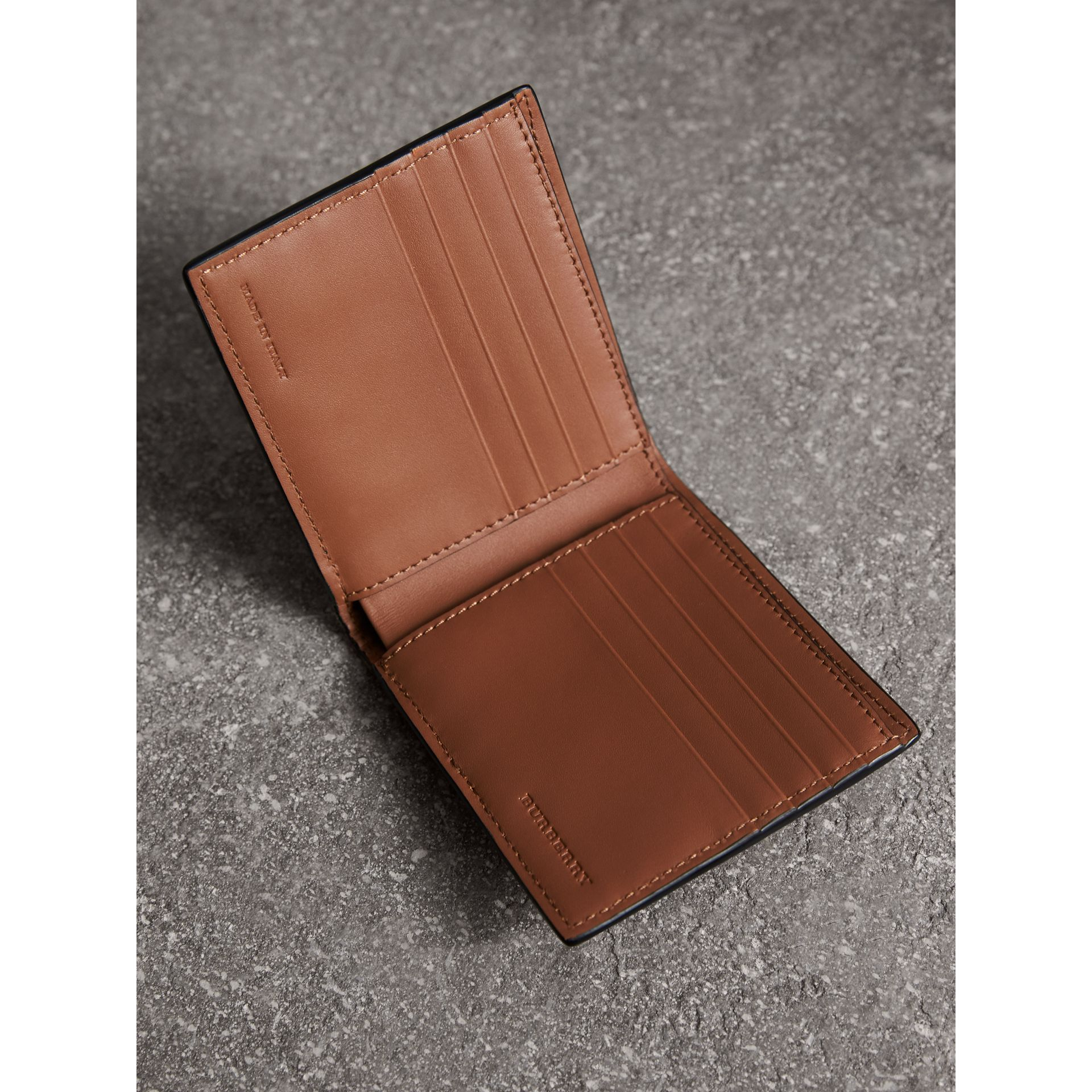 Leather and House Check International Bifold Wallet in Chestnut Brown | Burberry Australia - gallery image 3