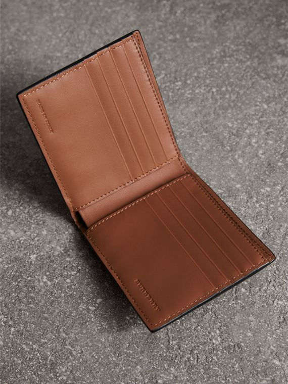Leather and House Check International Bifold Wallet in Chestnut Brown | Burberry Australia - cell image 3