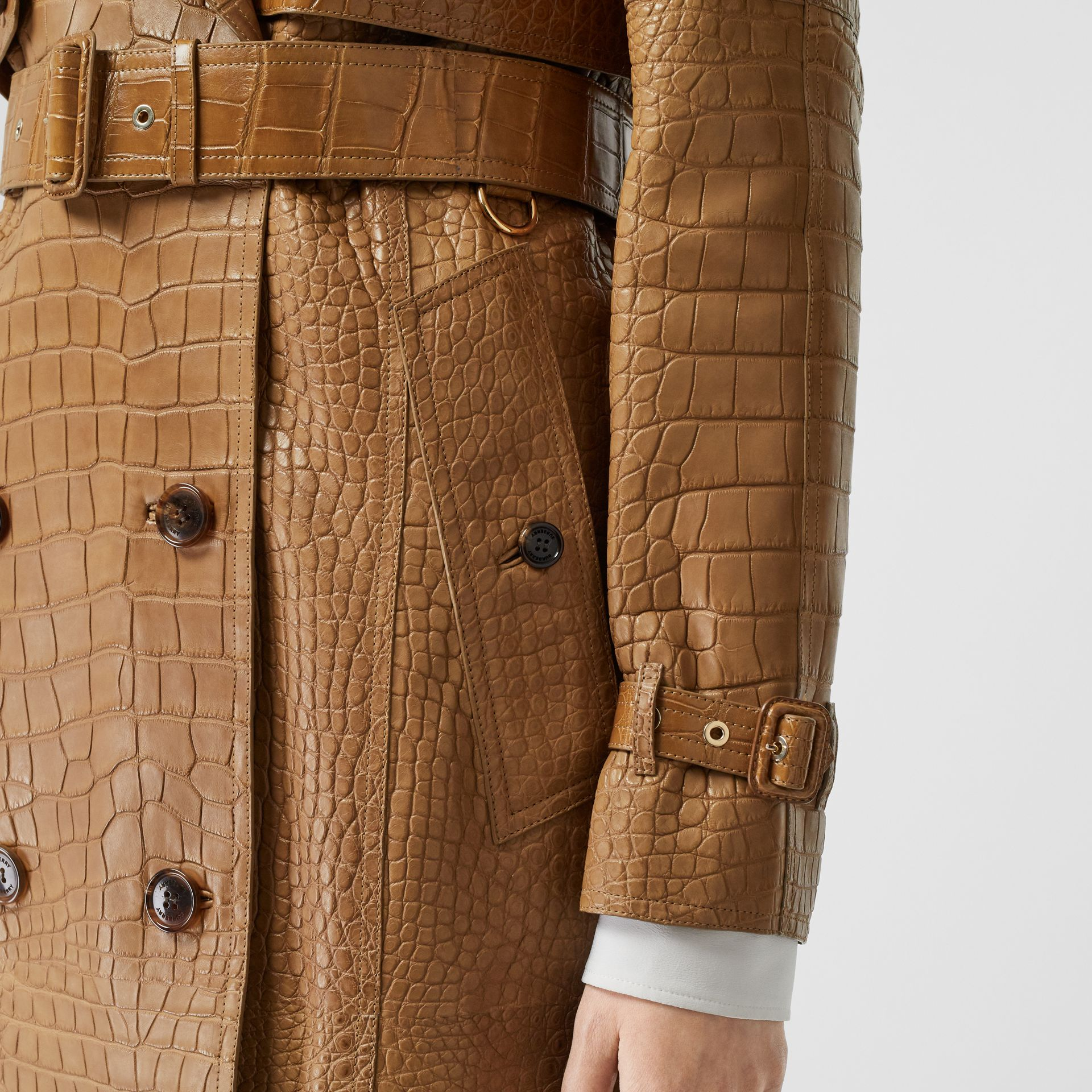 Alligator Trench Coat in Flaxseed - Women | Burberry Singapore - gallery image 4