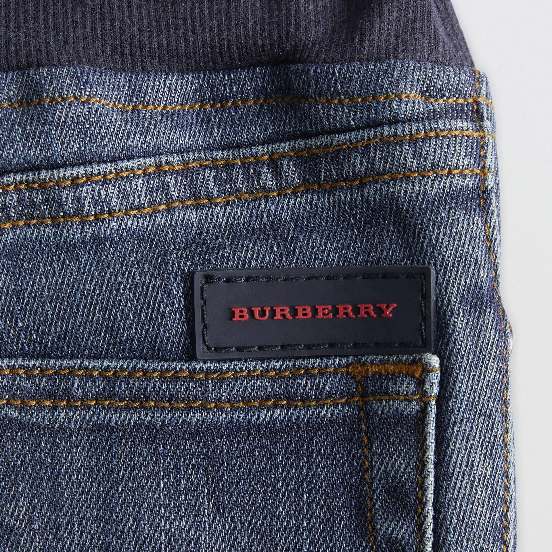 Relaxed Fit Pull-on Stretch Denim Jeans in Mid Indigo - Children | Burberry - gallery image 1