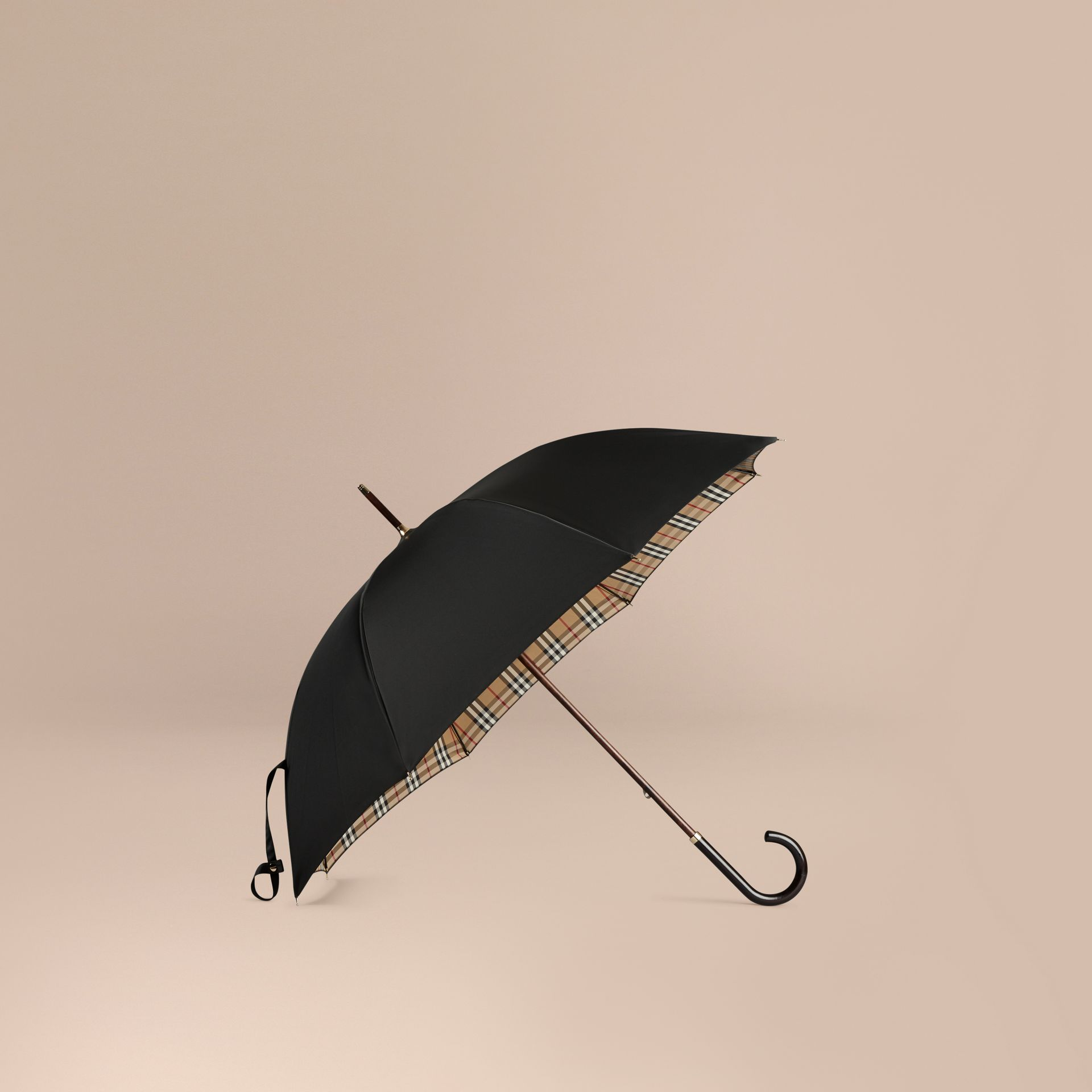 Heritage Check-lined Walking Umbrella in Black/honey | Burberry - gallery image 1