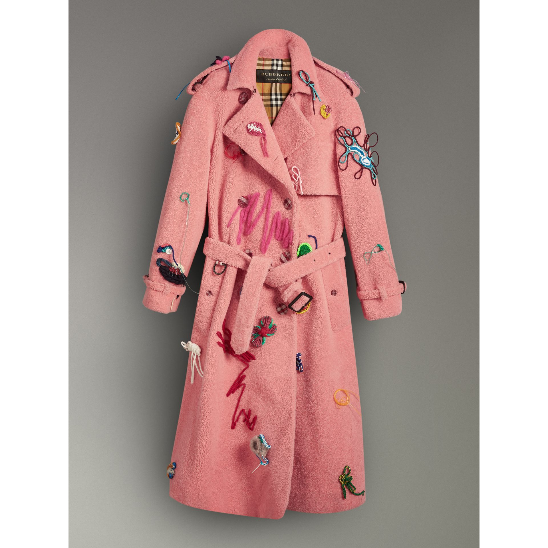 Embellished Shearling Trench Coat in Bright Pink - Women | Burberry - gallery image 3