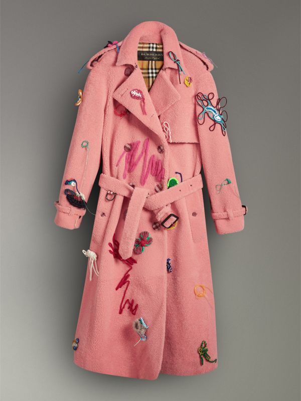 Embellished Shearling Trench Coat in Bright Pink - Women | Burberry - cell image 3