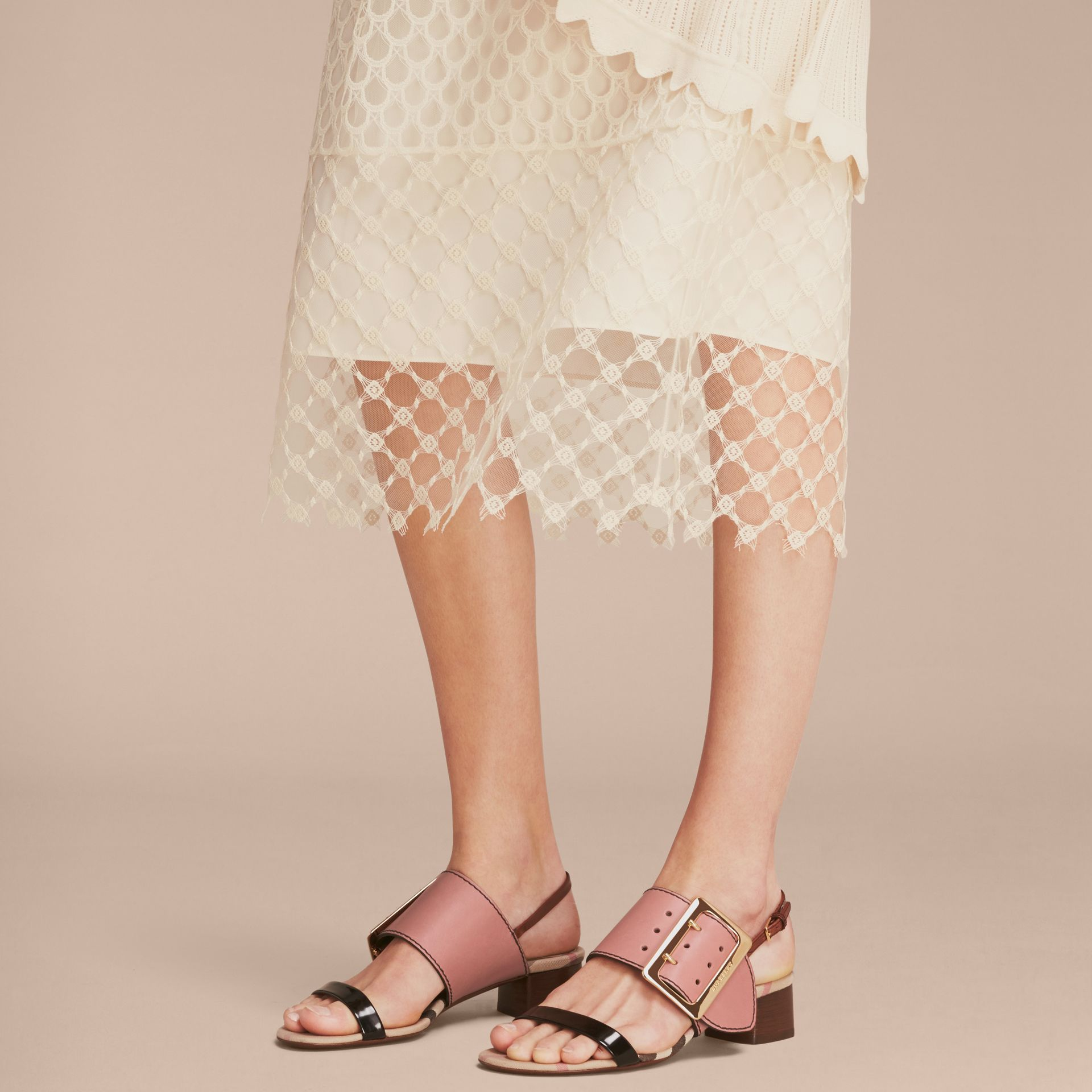 Buckle Detail Colour Block Leather Sandals in Nude Pink | Burberry - gallery image 2