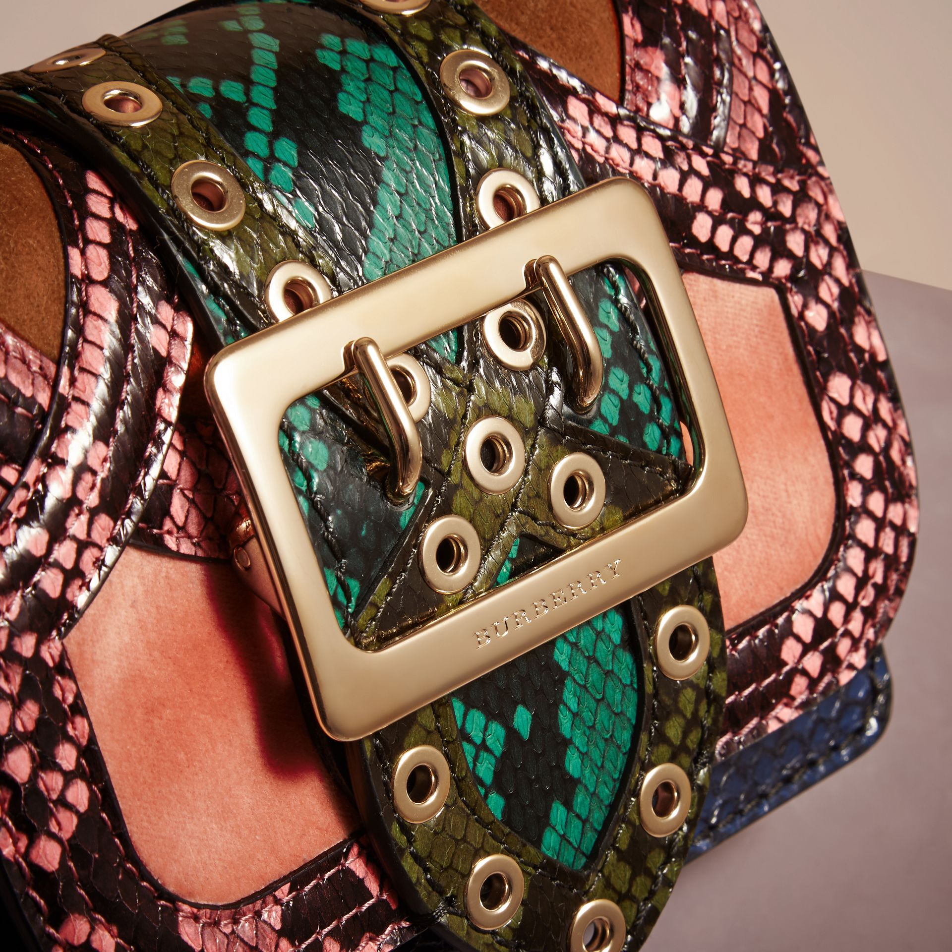 Rose pink The Mini Square Buckle Bag in Snakeskin and Velvet - gallery image 2