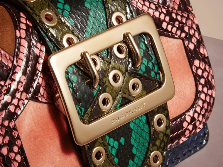 The Mini Square Buckle Bag in Snakeskin and Velvet - cell image 1
