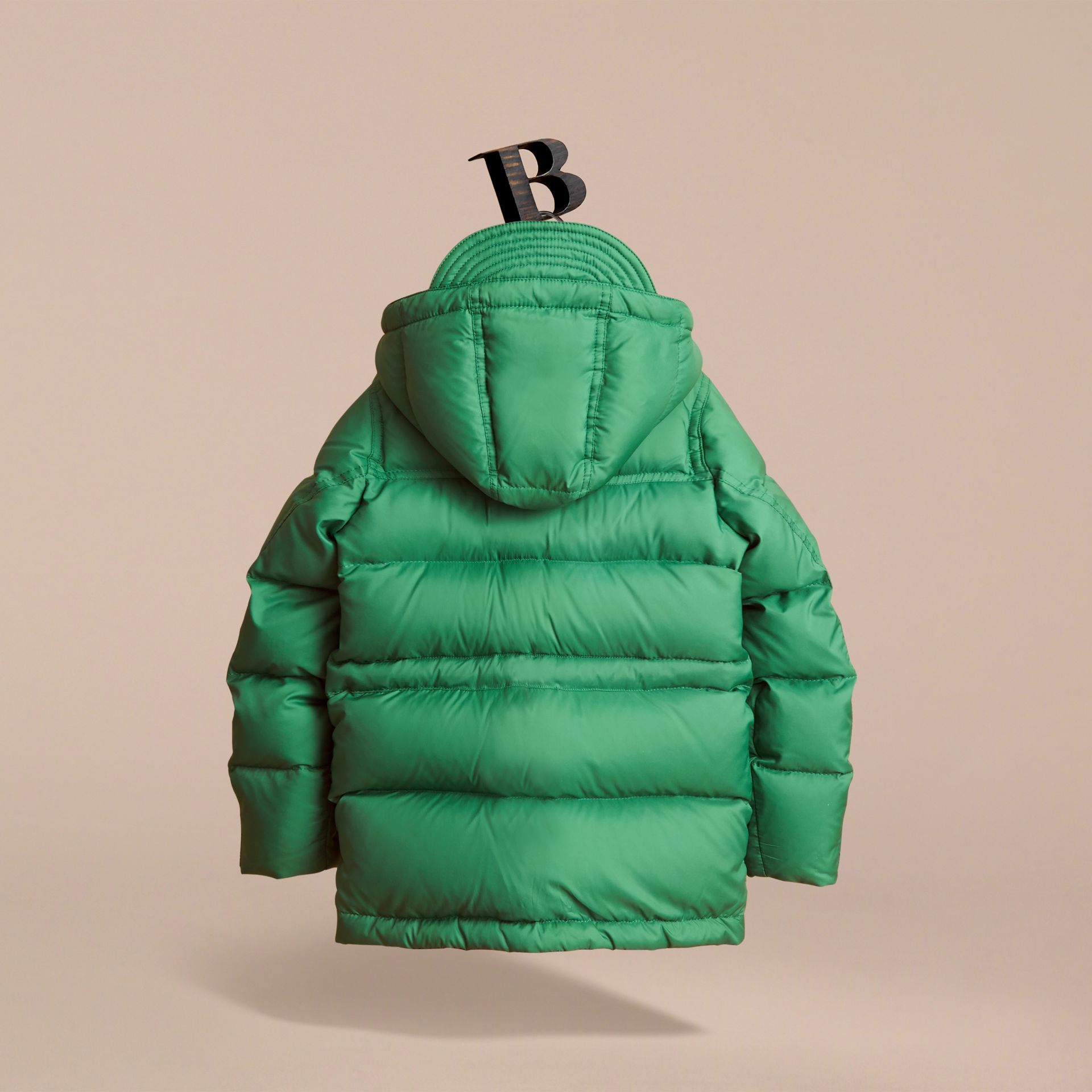 Down-filled Hooded Puffer Jacket in Pigment Green - Boy | Burberry United Kingdom - gallery image 3