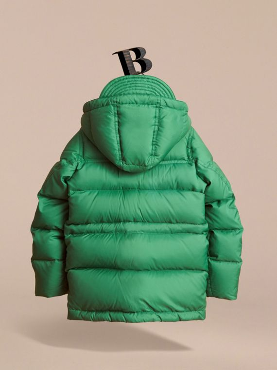 Down-filled Hooded Puffer Jacket in Pigment Green - Boy | Burberry - cell image 3
