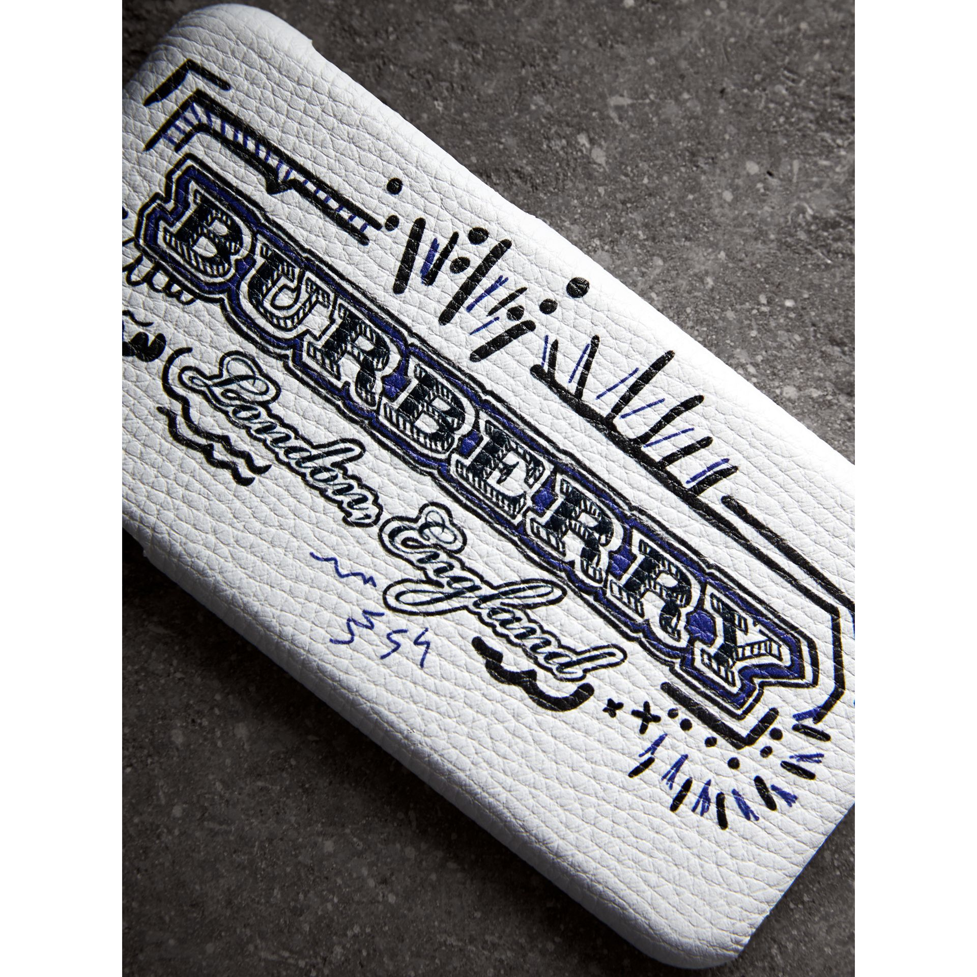 Doodle Print Leather iPhone 7 Case in White | Burberry - gallery image 1
