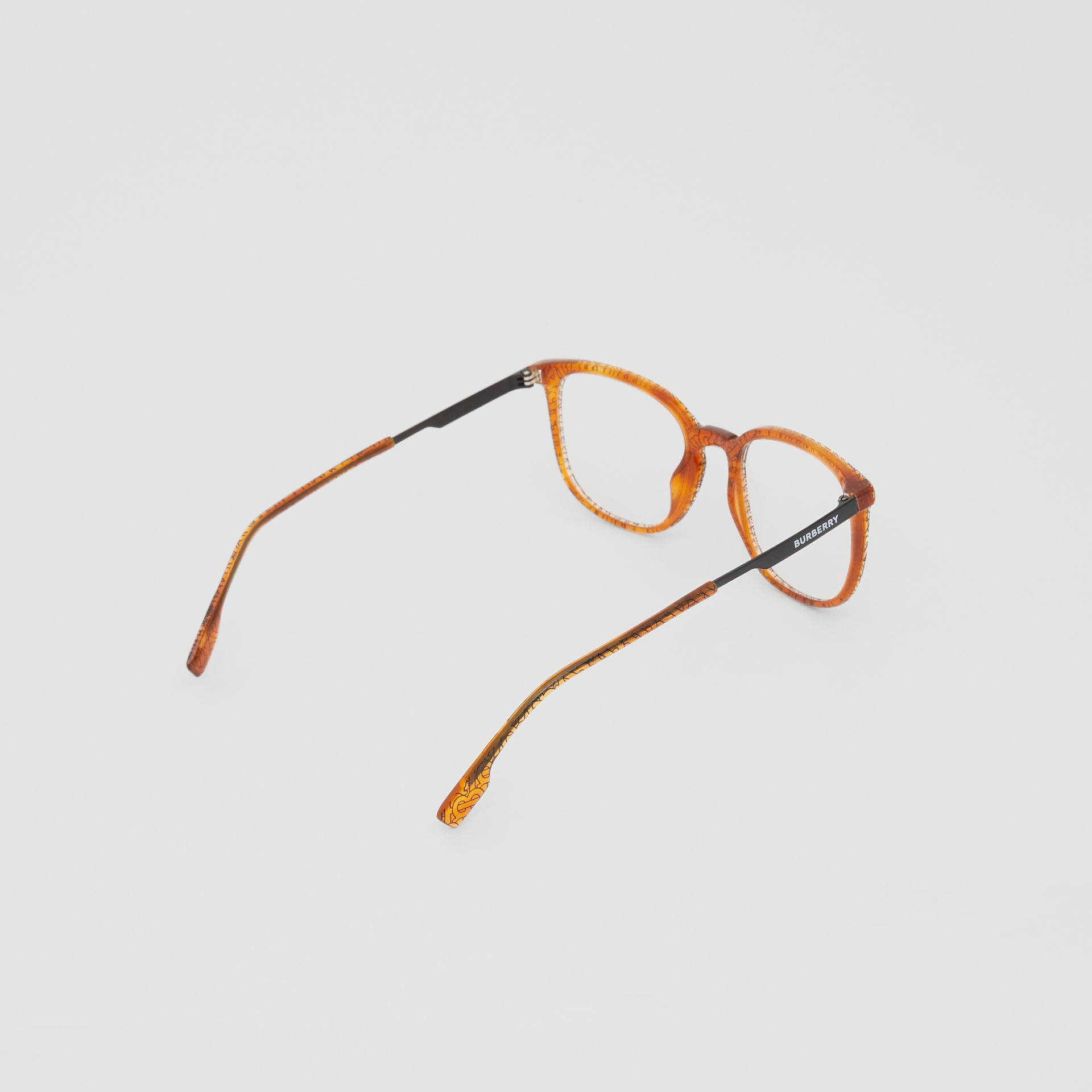 Monogram Print Square Optical Frames in Tortoiseshell Amber | Burberry - gallery image 3
