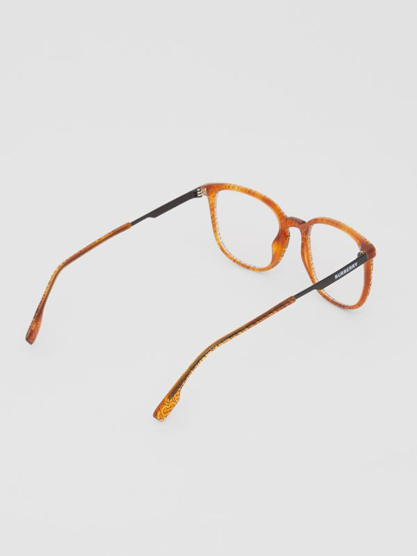 Monogram Print Square Optical Frames in Tortoiseshell Amber | Burberry - cell image 3