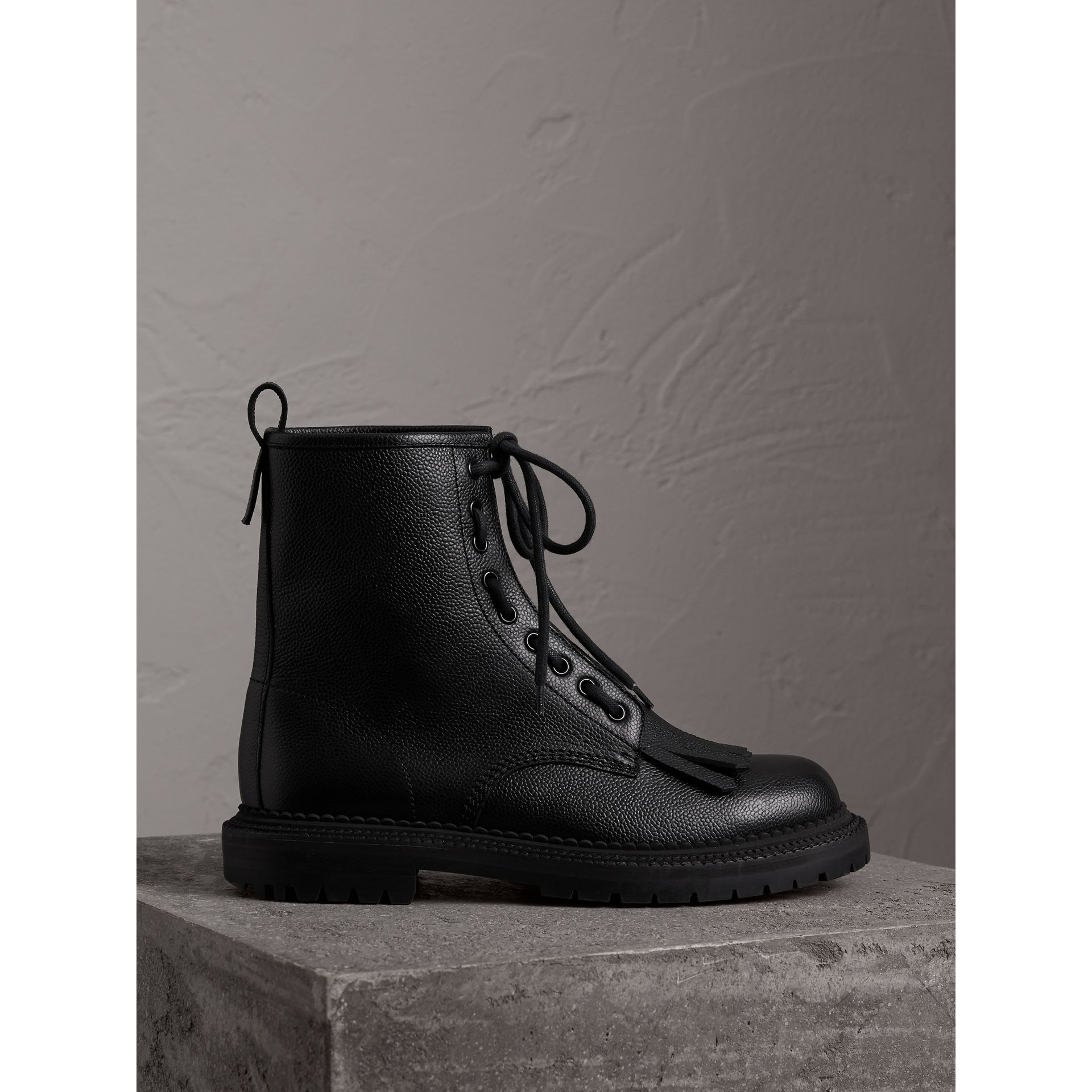 Fringe Detail Grainy Leather Zip-front Boots in Black - Men | Burberry United Kingdom - gallery image 0