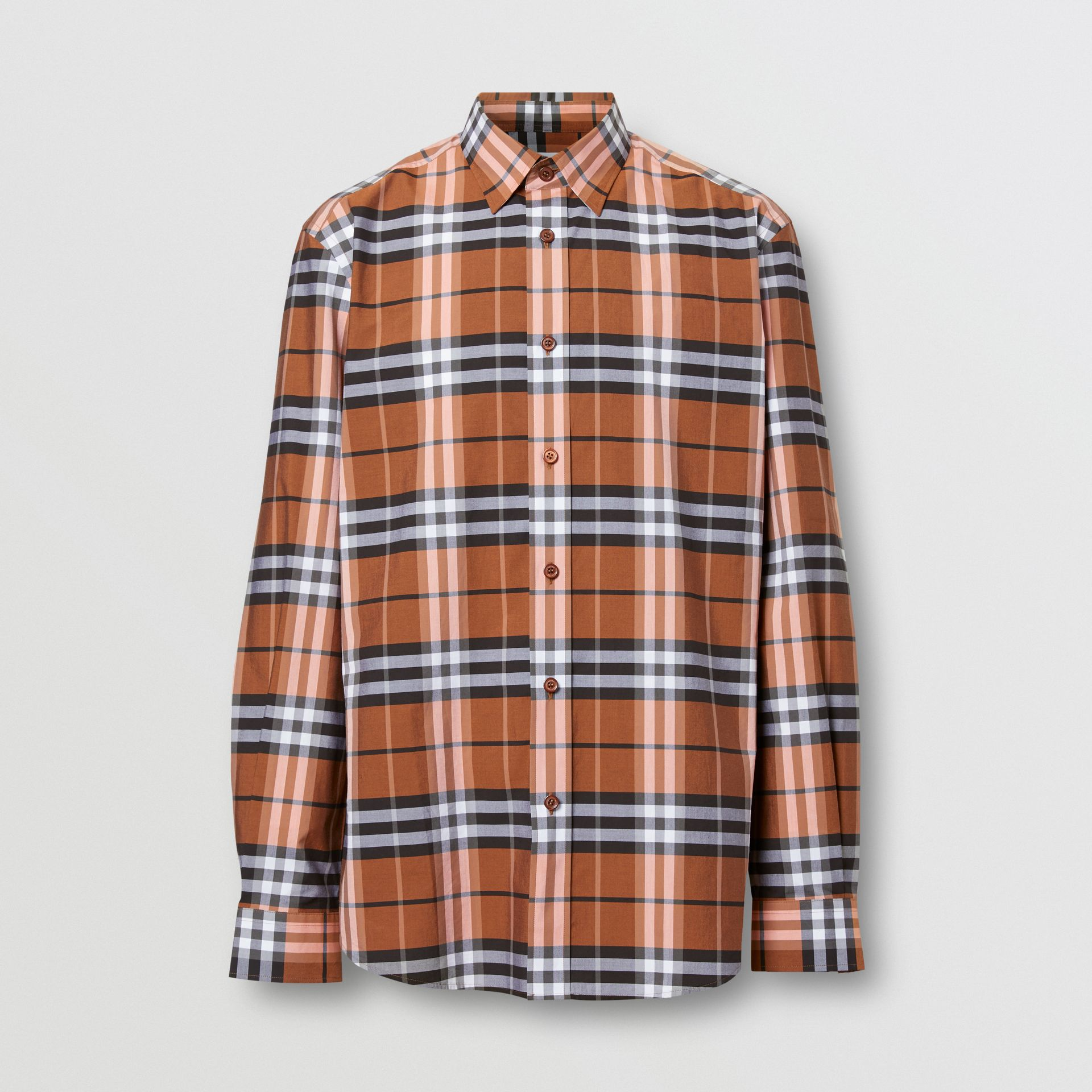 Check Cotton Poplin Shirt in Clementine - Men | Burberry United Kingdom - gallery image 3