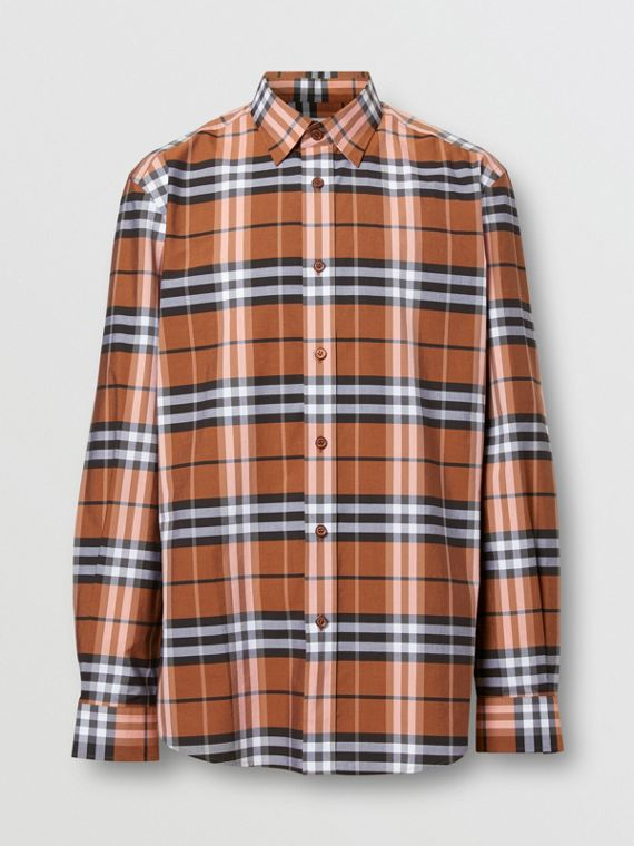 Vintage Check Cotton Poplin Shirt in Clementine