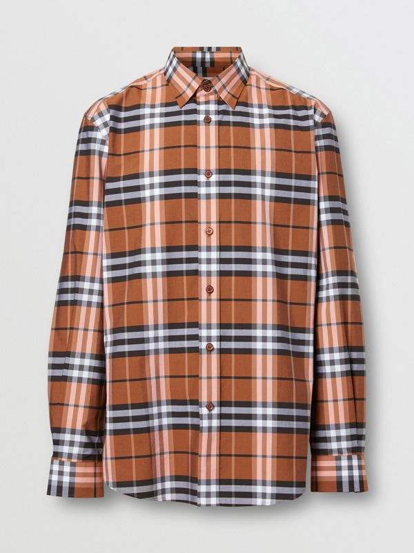 Vintage Check Cotton Poplin Shirt in Clementine - Men | Burberry - cell image 3